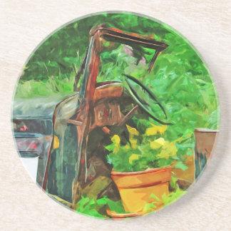 Antik Impressionism för bilPlanterabstrakt Underlägg