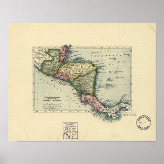 Antik karta av Central America - 1902 Poster