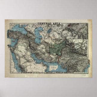 Antik karta av centralen Asien 1885 Poster