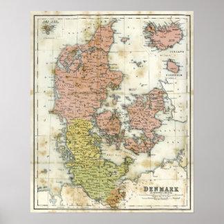 Antik karta av Danmark Posters