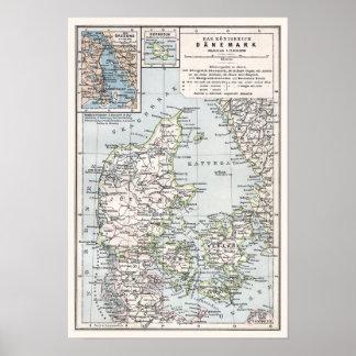 Antik karta av Danmark, Danemark, Danmark Poster