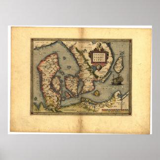 Antik karta av den Danmark ORTELIUS KARTBOKEN 1570 Print