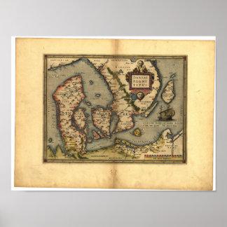 Antik karta av den Danmark ORTELIUS KARTBOKEN 1570 Poster