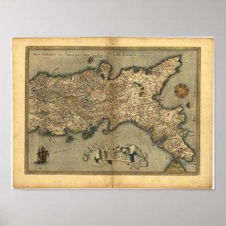 Antik karta av den sydliga KARTBOKEN 1570 för Poster