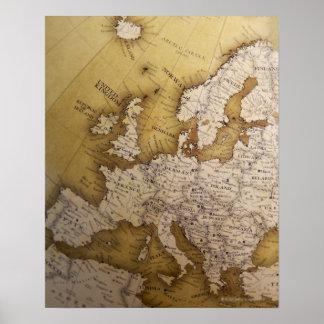 Antik karta av Europa. Gammal värld Poster
