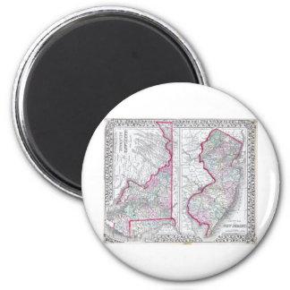 Antik karta av Maryland som är nya - jersey & Dela Magnet