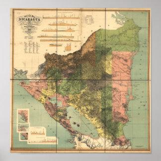 Antik karta av Nicaragua 1898 Poster