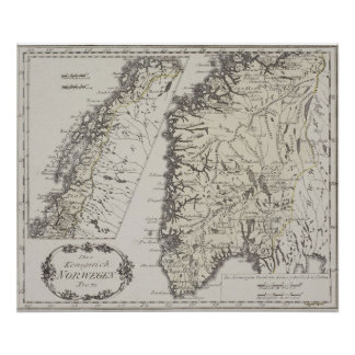 Antik karta av norgen affischer