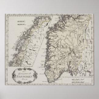 Antik karta av norgen poster