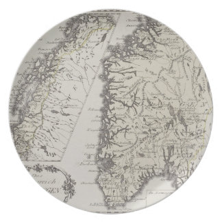 Antik karta av norgen tallrik