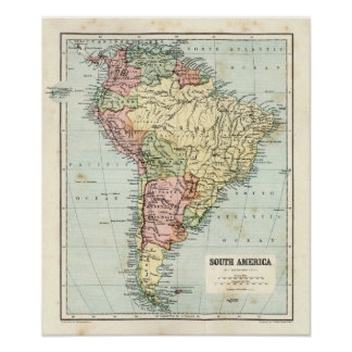 Antik karta av South America Poster