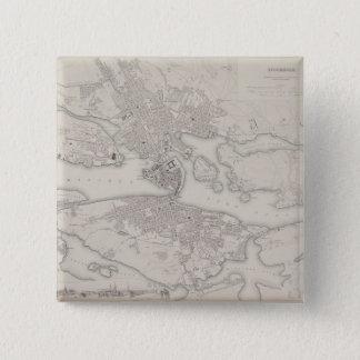 Antik karta av Stockholm, sverige Standard Kanpp Fyrkantig 5.1 Cm