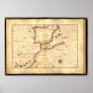 Antik karta av straiten av Gilbraltar Poster