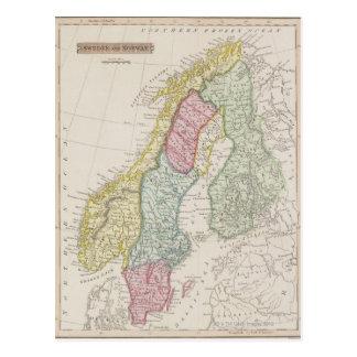 Antik karta av sverigen vykort