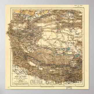 Antik karta av Tibet 1906-1908 Poster