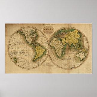 Antik karta av världen - 1795 poster
