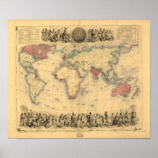 Antik karta - det brittiska väldet 1850 poster
