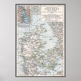 Antik karta för danska av Danmark, Danmark Posters
