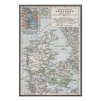 Antik karta för danska av Danmark, Danmark Poster