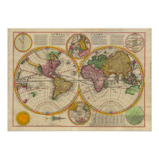 Antik karta för gammal värld poster