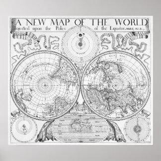 Antik karta för kopia av världsaffischen poster