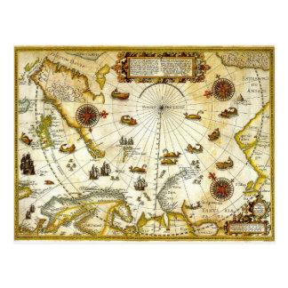 Antik karta för vintage av den Willem Barentsz Vykort