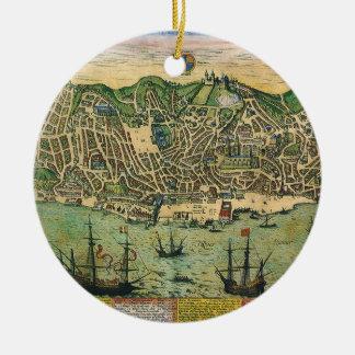 Antik karta, stadsplan av Lisbon, Portugal, 1598 Julgransprydnad Keramik