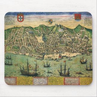 Antik karta, stadsplan av Lisbon, Portugal, 1598 Musmatta