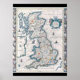 Antik kartor av WorldMapen av brittiska IslesJoh Poster