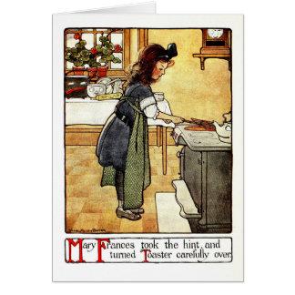 Antik liten flicka för vintage i kök hälsningskort