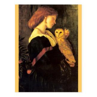 Antik målning för kvinnaScreechuggla Vykort