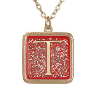 Antik monogram T Guldpläterat Halsband