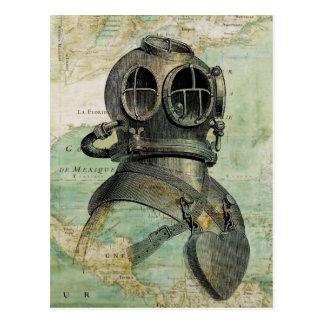 Antik nautisk karta- & dykhjälmvykort vykort