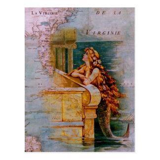 Antik nautisk karta & sjöjungfru vykort