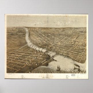 Antik panorama- karta för Oshkosh WI 1867 Poster
