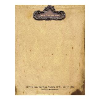 Antik parchment- och mässingsplatta brevhuvud