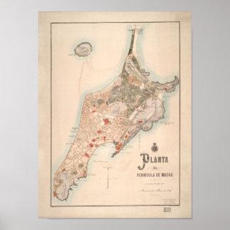 Antik portugisisk karta av Macao 1889 Poster