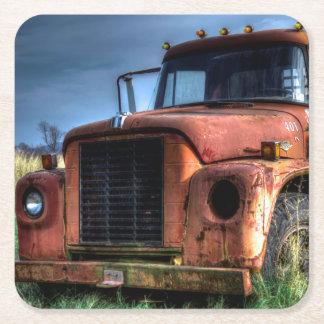 Antik röd internationell pickup lastbil underlägg papper kvadrat
