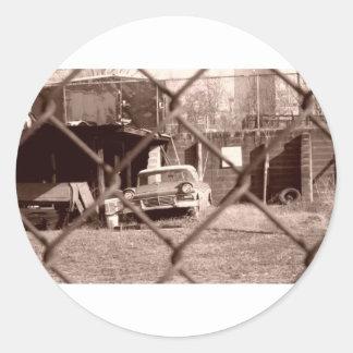 antik sepia tonar bilbilden runt klistermärke