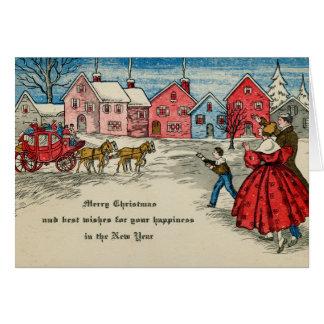 Antik vagn för nytt år för julvintage hälsningskort