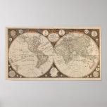 Antik världskarta, 1799 (Thomas kök) Print