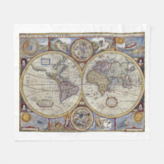 Antik världskarta #3 fleecefilt