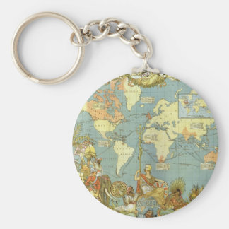 Antik världskarta av det brittiska väldet, 1886 rund nyckelring