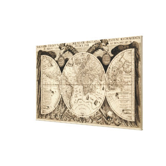 Antik världskarta av Philipp Eckebrecht - 1630 Canvastryck