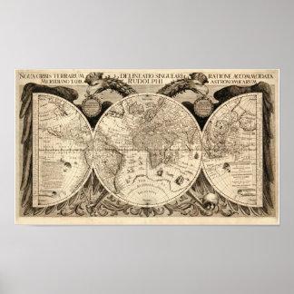 Antik världskarta av Philipp Eckebrecht - 1630 Poster
