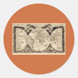 Antik världskarta av Philipp Eckebrecht - 1630 Runt Klistermärke