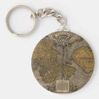 Antik världskarta för klassiker 1531 vid den rund nyckelring