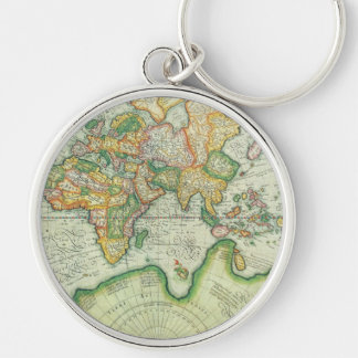 Antik världskarta Keychain Rund Silverfärgad Nyckelring