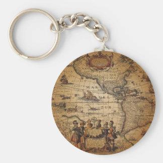 Antik världskarta rund nyckelring