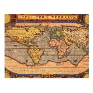 Antik världskarta vykort